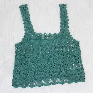 UO Staring At Stars Teal Blue Lace Crochet Top